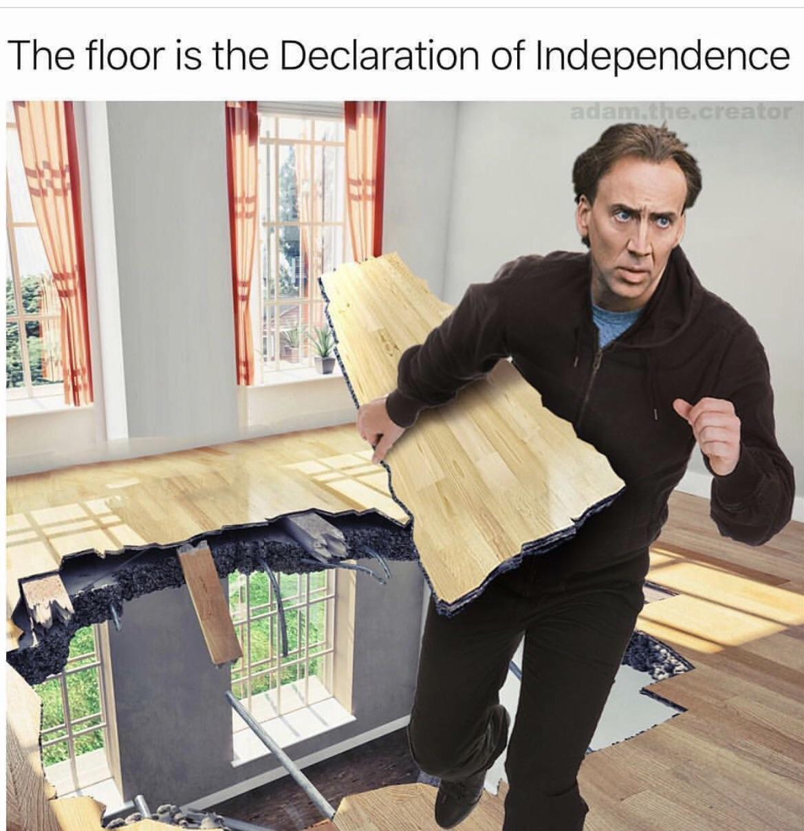 The floor is the Declaration of Independence - meme