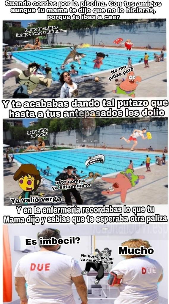 Un día en la piscina - meme