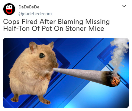 cops fired after blaming missing half-ton of pot on stoner mice - meme