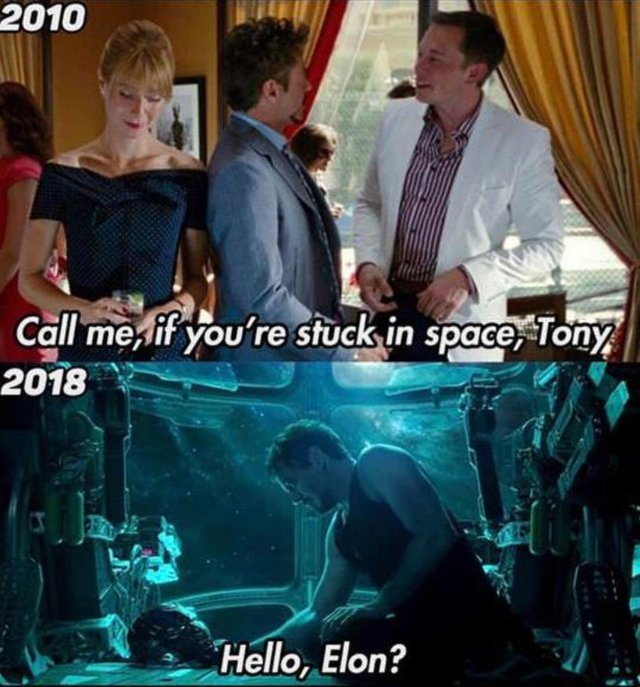Call me if you are stuck in space, Tony - meme