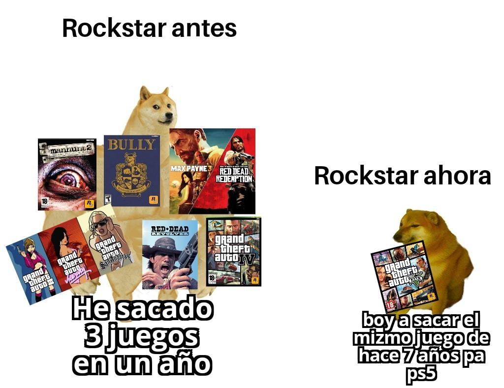 El mismo juego pa ps3 ps4 y ps5, en serio rockstar? - meme