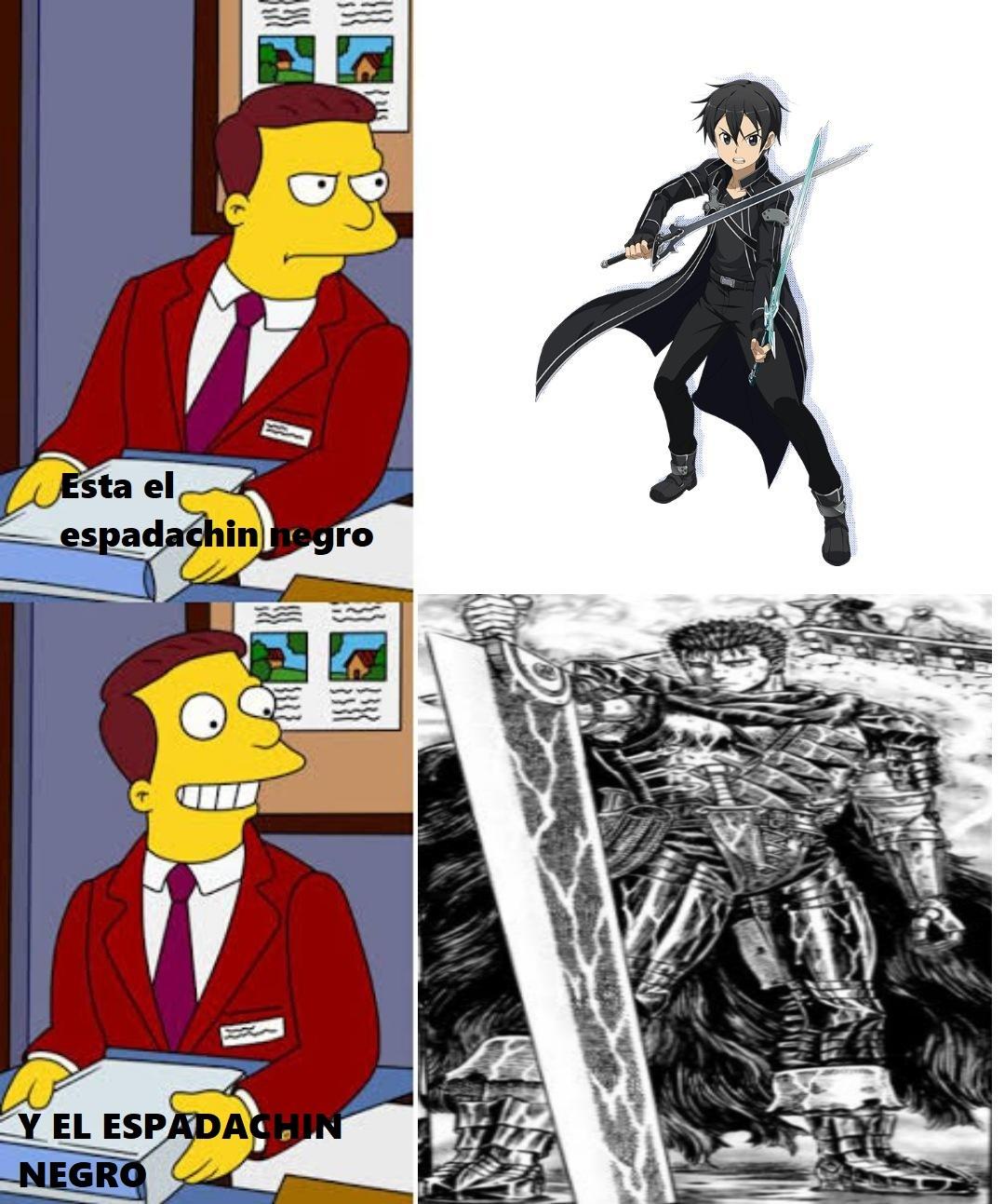 kirito no es el espadachin negro - meme