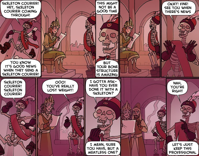 Skeleton Courier - part 1 (oglaf.com) - meme