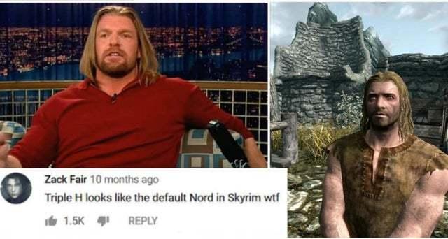 Triple H looks like the default Nord in Skyrim - meme