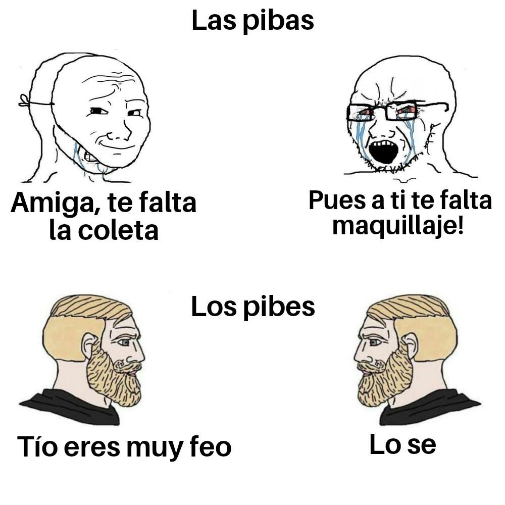 Los pibes vs las pibas - meme