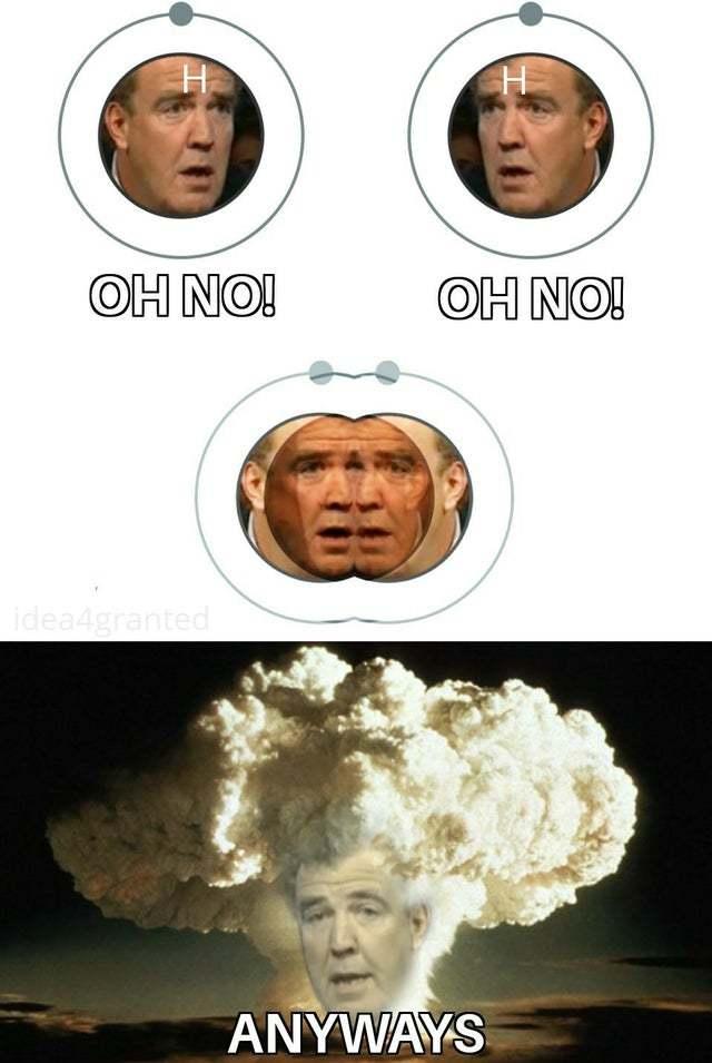 Para cualquiera que no entienda el meme, se refiere al principio de funcionamiento de una bomba de hidrógeno.  El proceso consiste en que si se fusionan 2 núcleos de hidrógeno para formar un núcleo de helio, se libera una enorme cantidad de energía.