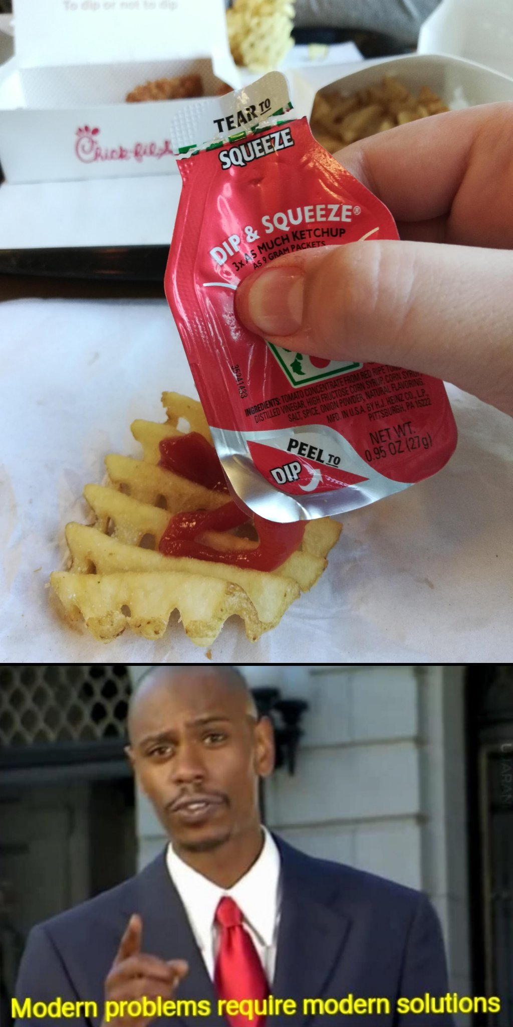 Those Darn Chick-fil-a Ketchup packets - meme
