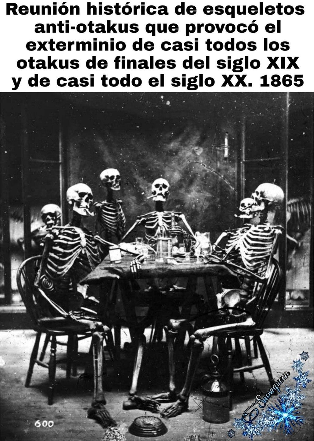 Esqueleto anti-otakus - meme