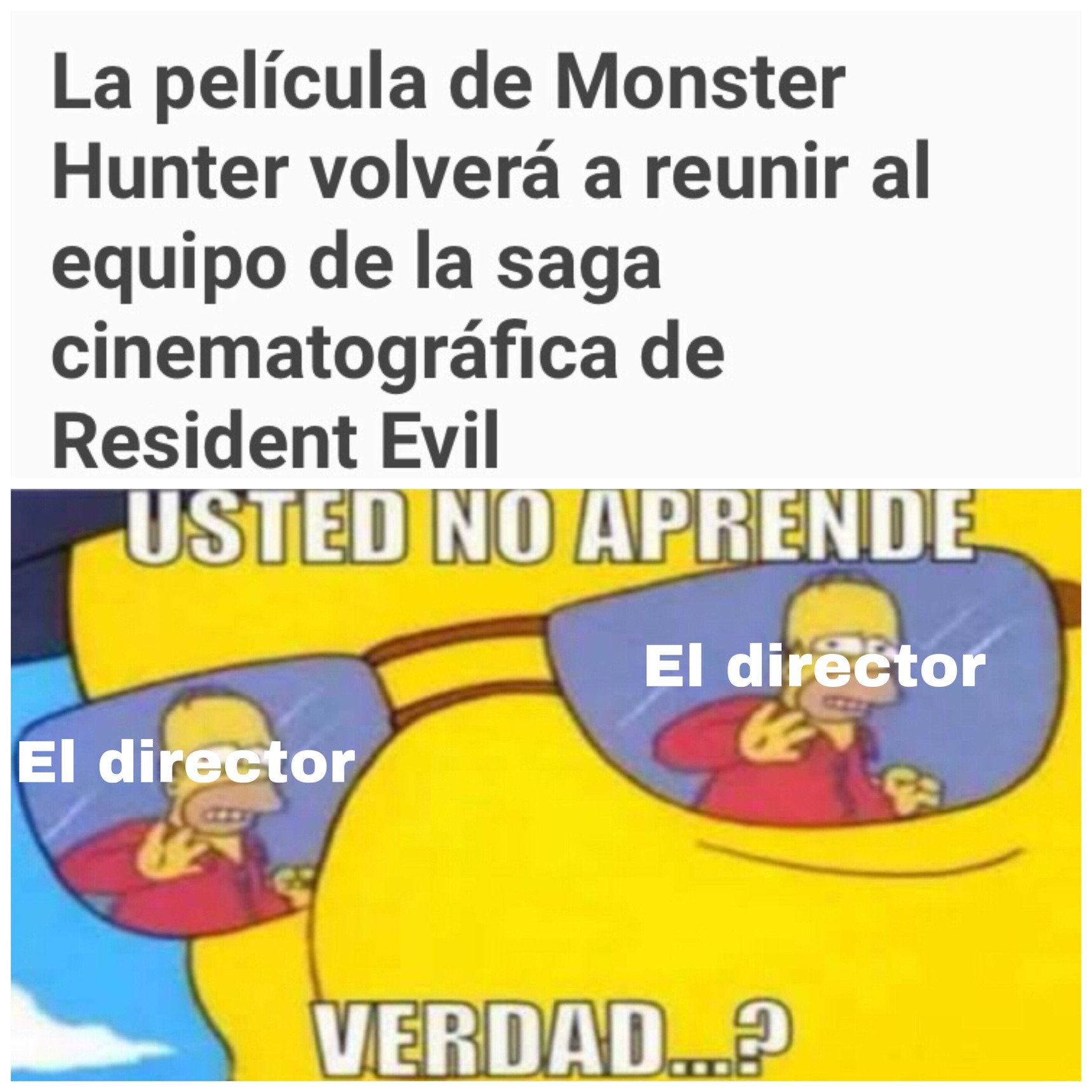 El director de la película live action de resident evil hará una película live action de monster hunter - meme