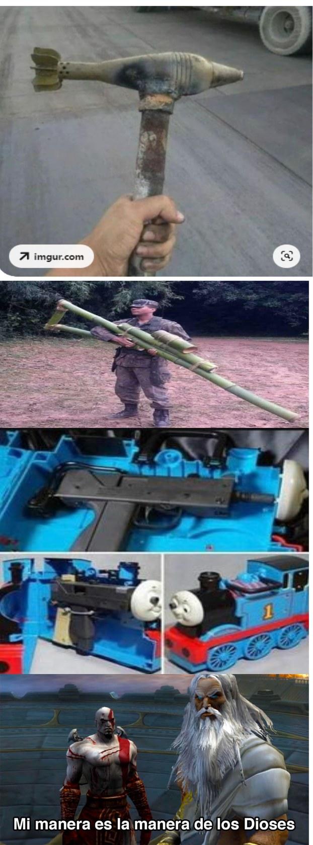 la idea del martillo es implemente estupida , la del trensito esta buena y f por el soldado cuando vaya a la guerra - meme
