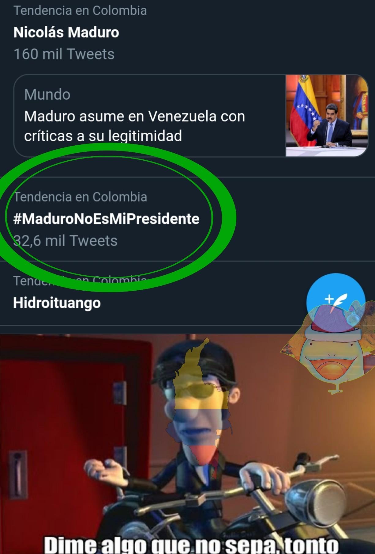 Aunque ahora Colombia parece venezuela de la cantidad de inmigrantes que hay.  PD original - meme