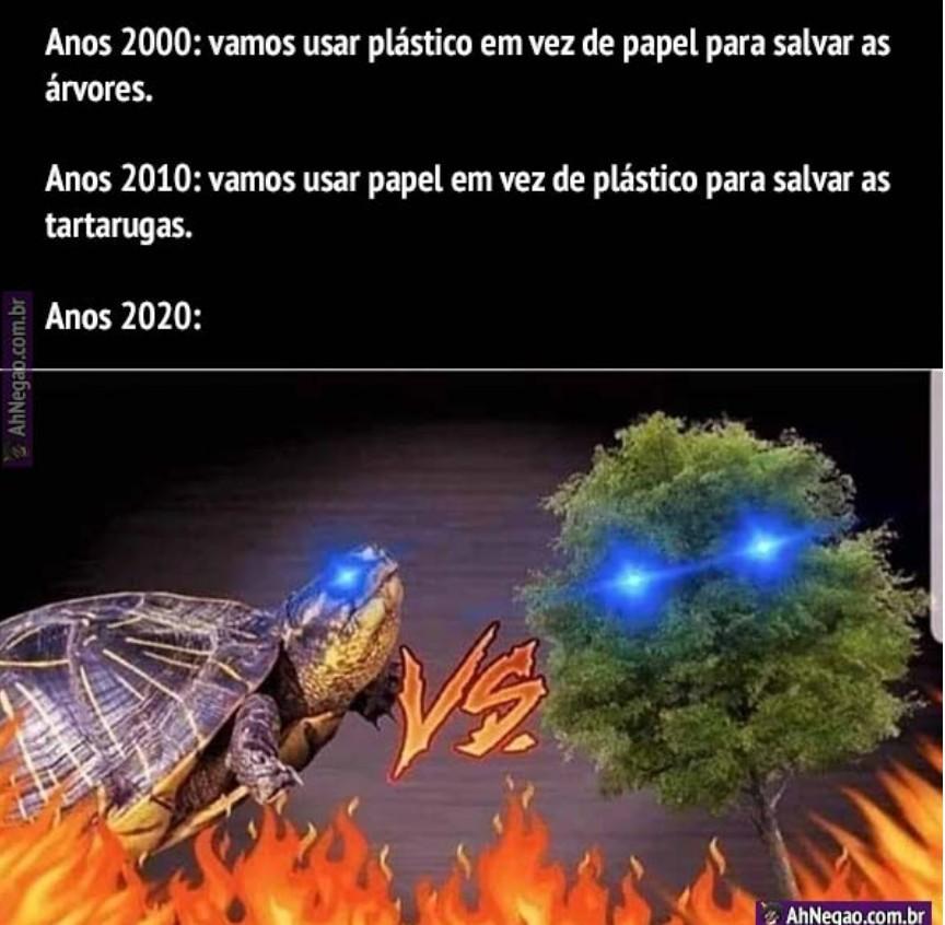 Árvores ou tartarugas?!? - meme