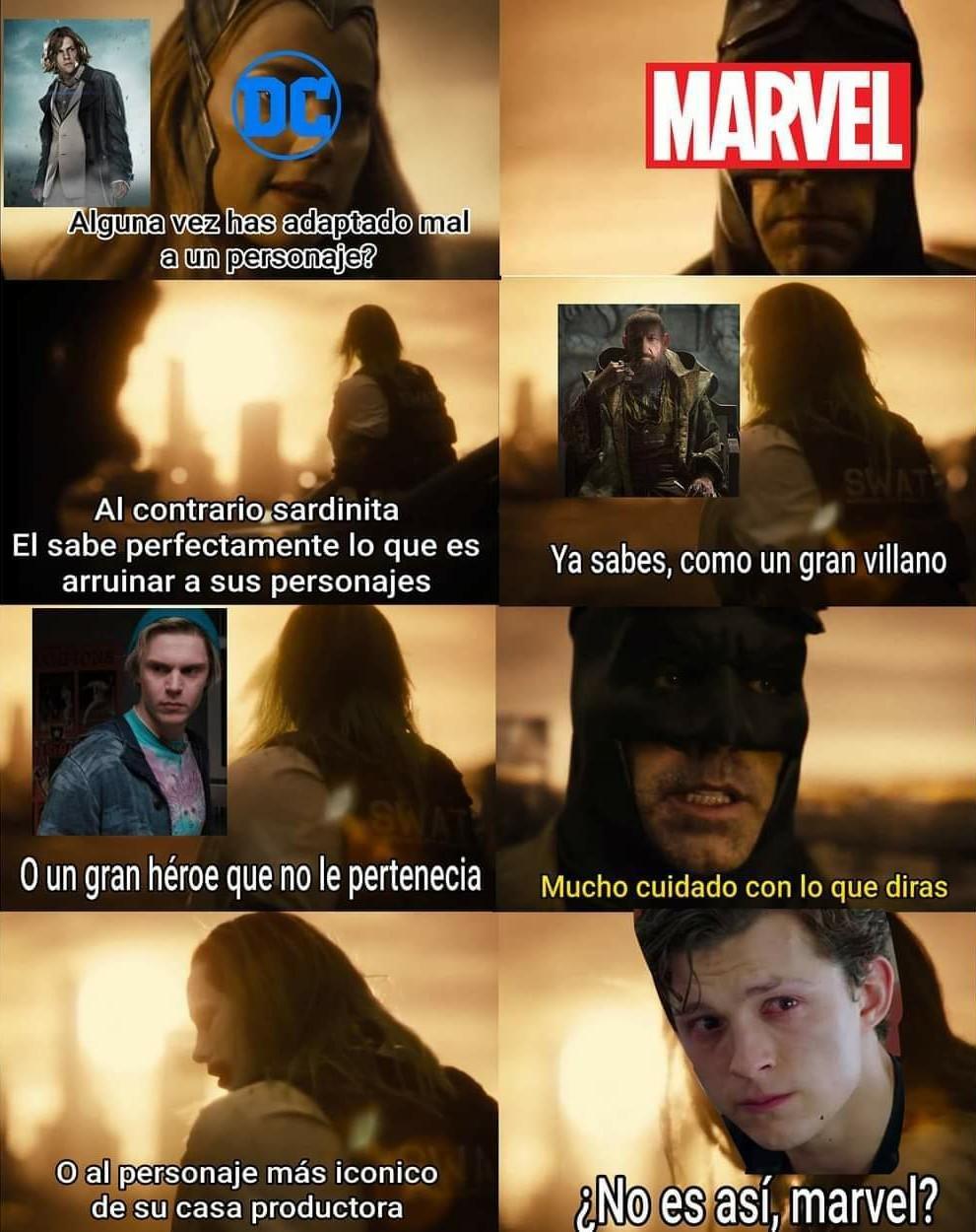 Marvel, deja de cagar personajes porfa, DC, concéntrate en una sola línea temporal en las películas, porfa. - meme