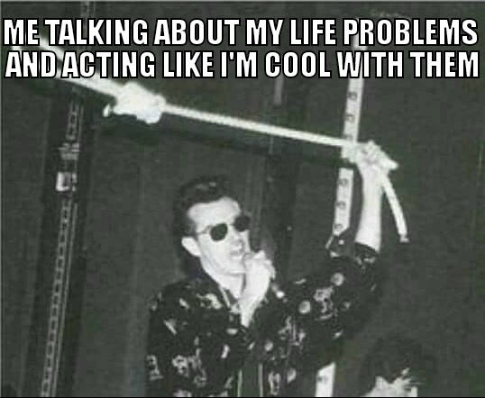 Problems include depression, lack of sleep, addiction to smoking, still not having a girlfriend, and having failing grades in college - meme