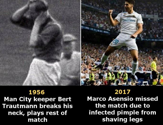 Old football vs Modern - meme