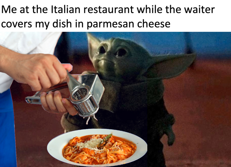 baby yoda at the italian restarant - meme