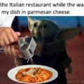 baby yoda at the italian restarant