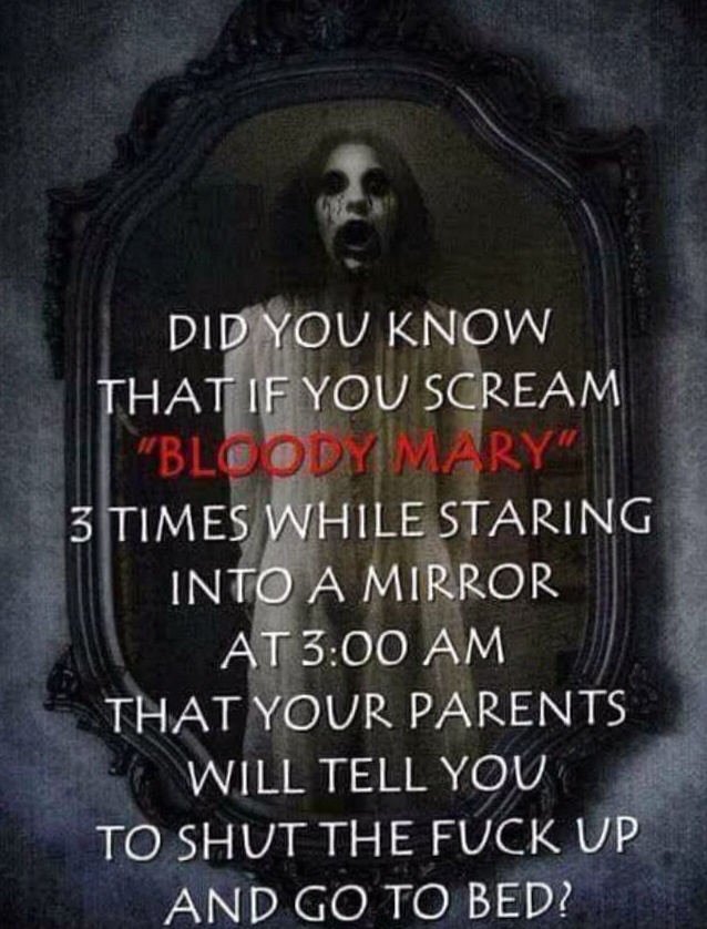 Screaming bloody mary while staring into a mirror - meme