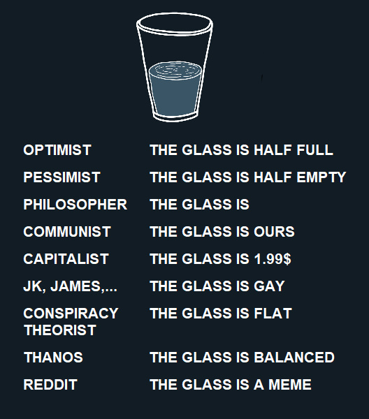 How do you see the glass? - meme