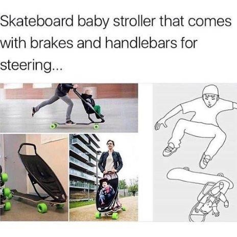 Skateboard baby stroller that comes with brakes and handlebars for steering - meme
