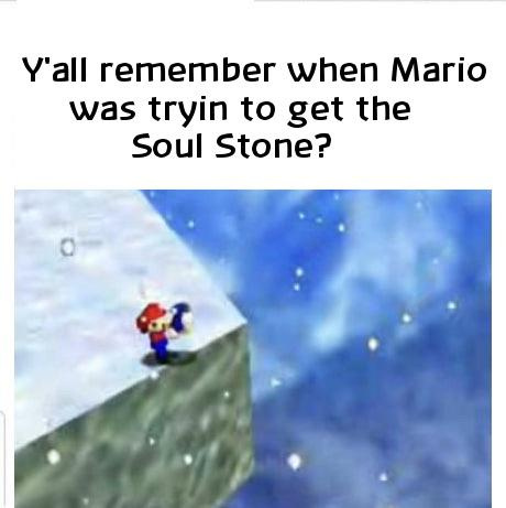 Lembra quando o Mario tentou pegar a joia da alma? - meme
