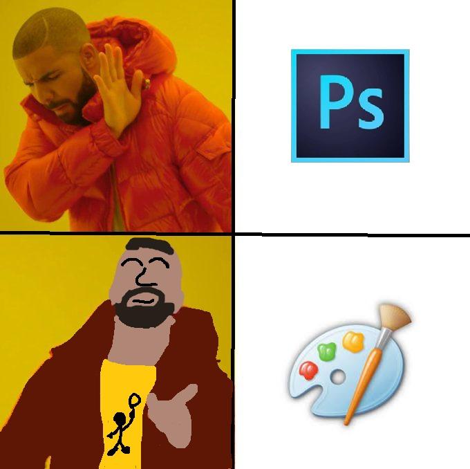 paint y photoshop - meme