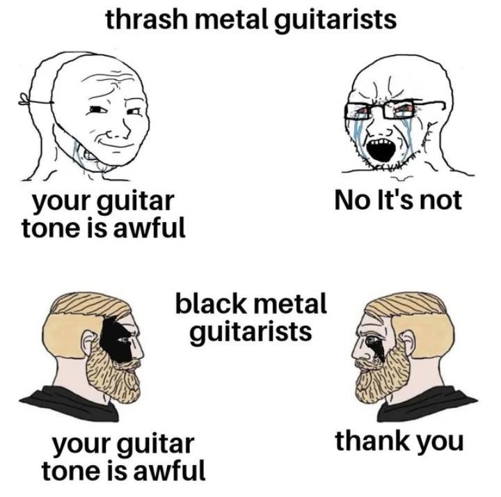 Black metal vs Thrash metal - meme