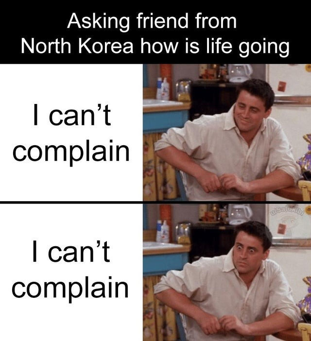 Asking friend from North Korea how is life going - meme