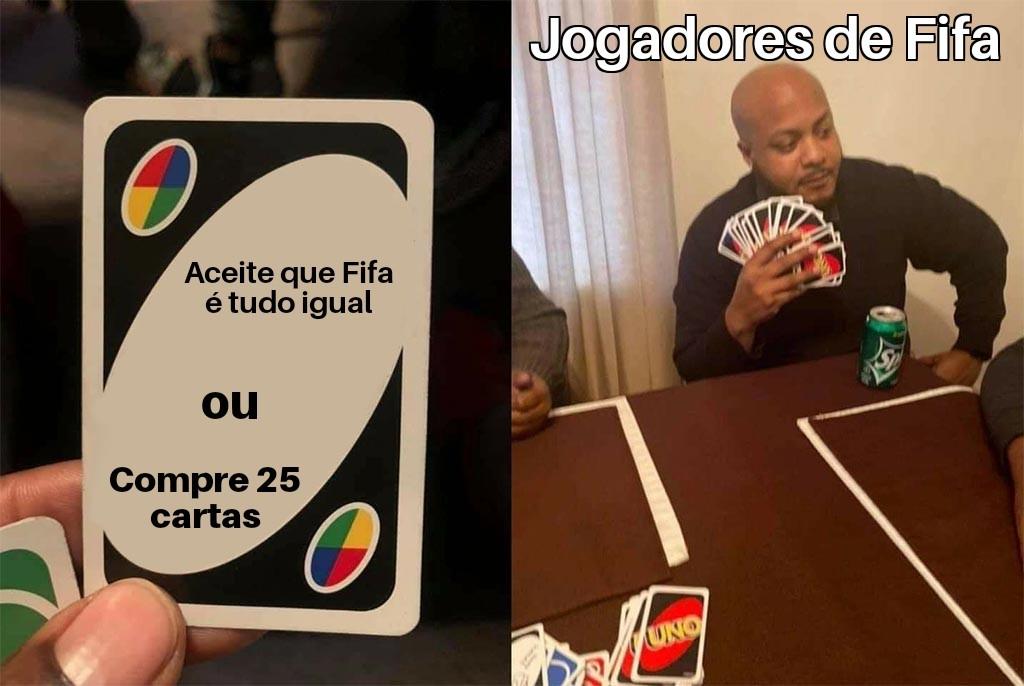 Título tá batendo em jogador de Fifa - meme