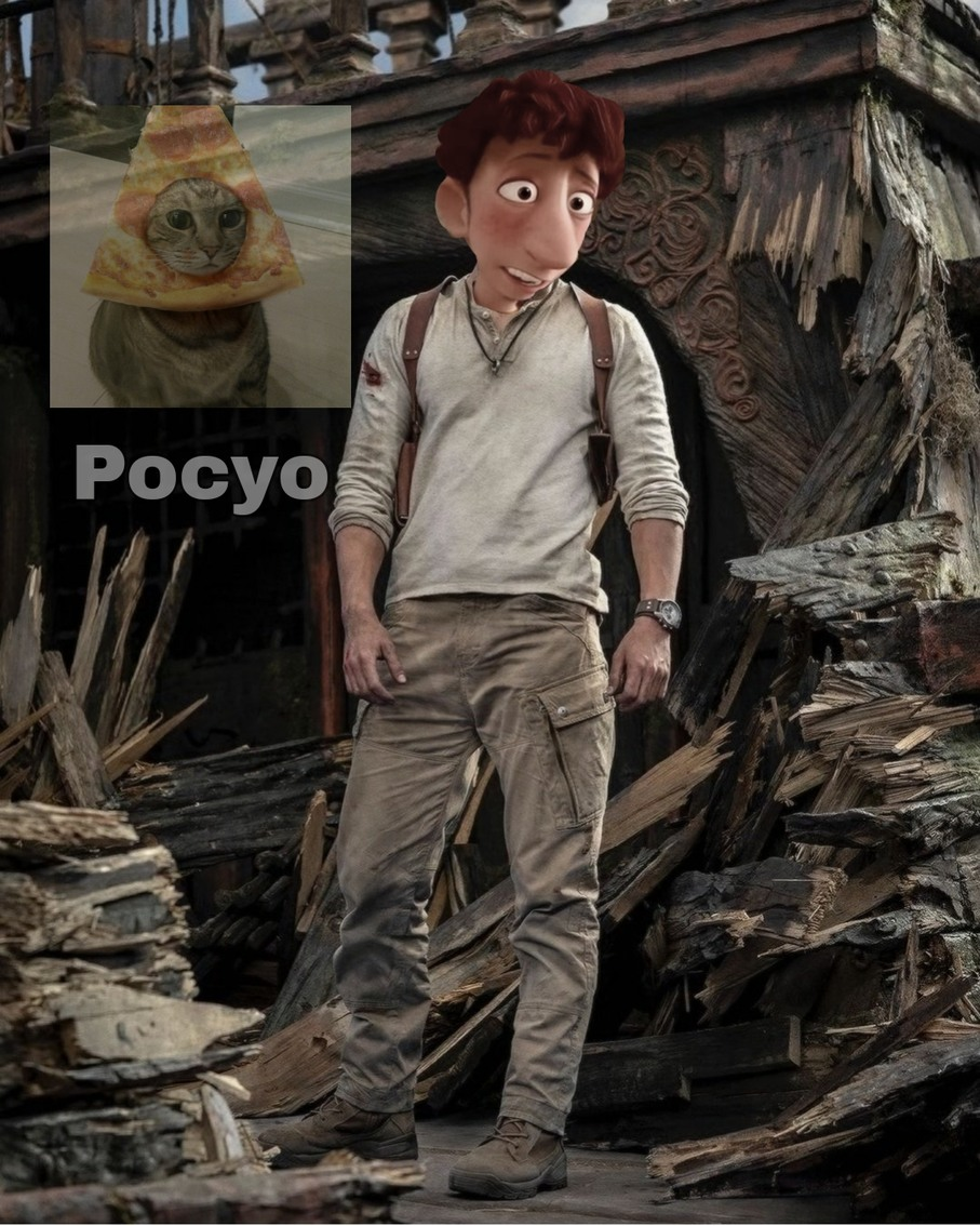 Película de uncharted con Tom Holland como Nathan Drake - meme