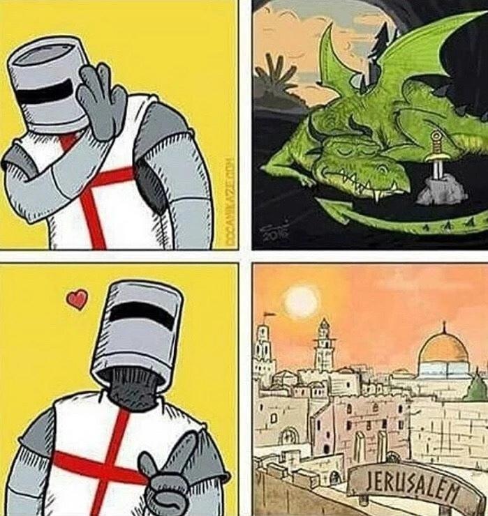 No Dirty Dragons, We Want Jerusalem - meme