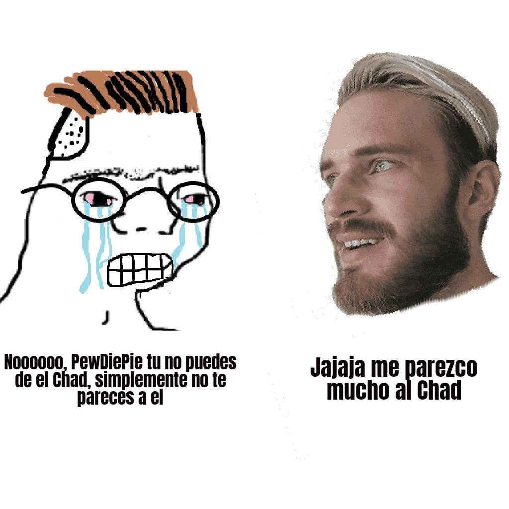 The Virgin zoomer vs The Chad pewdiepie - meme