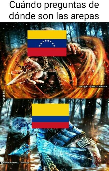 Debe haber algún subnormal que diga que las arepas son de Ecuador - meme