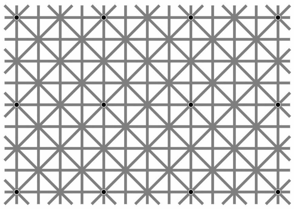 Can you see all 12 black dots at the same time? - meme