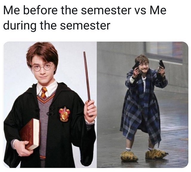 Me before the semester vs me during the semester - meme