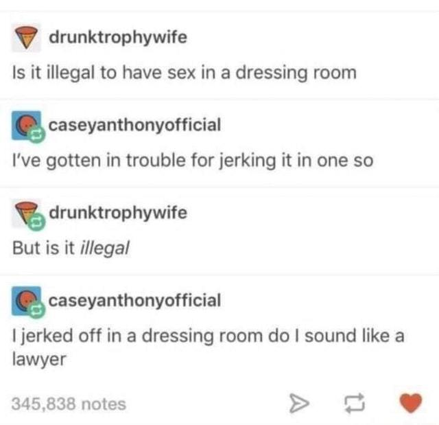 Is it illegal to have sex in a dressing room? - meme