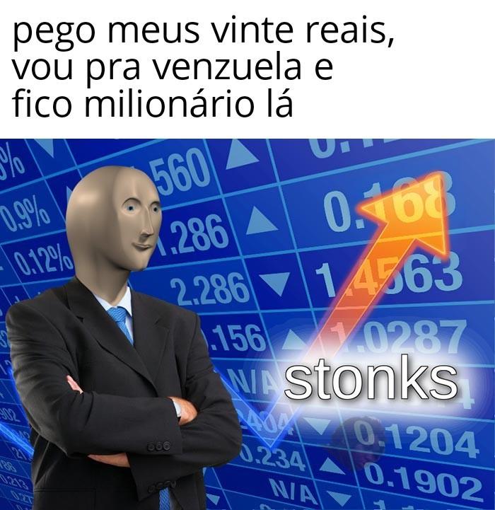 1 real = 50 mil pesos venezuelanos, 20 reais = 1 milhão de pesos venezuelanos - meme