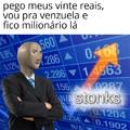 1 real = 50 mil pesos venezuelanos, 20 reais = 1 milhão de pesos venezuelanos