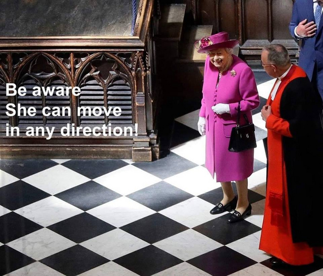 The queen can move in any direction - meme