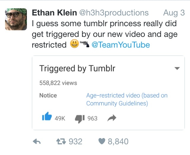 nothing even remotely wrong with the video. nice work tumblr you fucking faggots. - meme