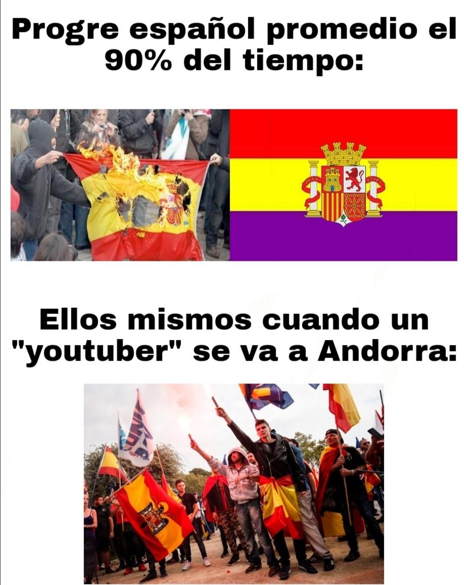 Contexto:muchos youtubers se están yendo Andorra y los progres se quejan - meme