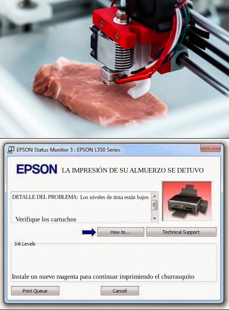 La carne artificial impresa es el futuro - meme