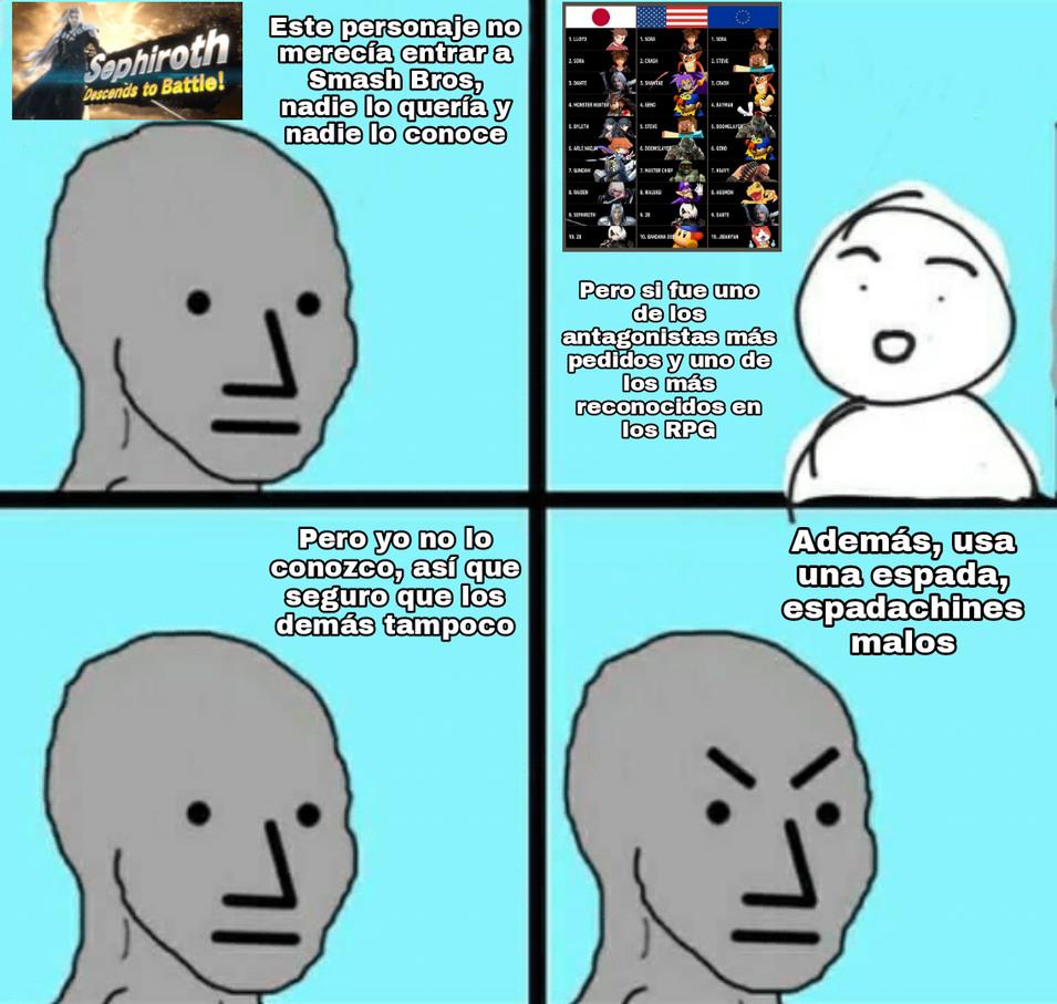 Los smashfags tratando de hacer de menos a cualquier personaje que ellos no querían, qué novedad xd - meme