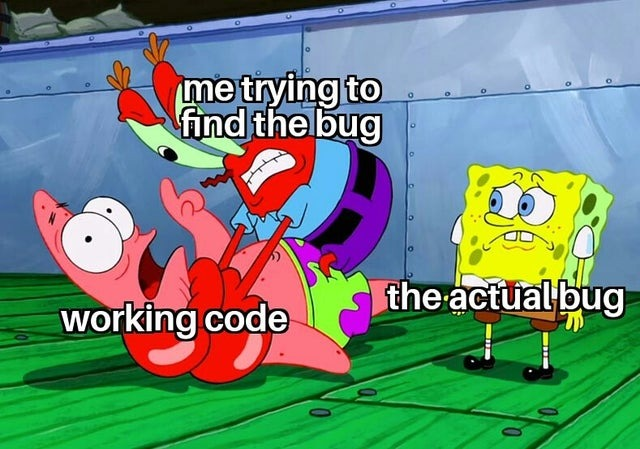 Me trying to find the bug - meme