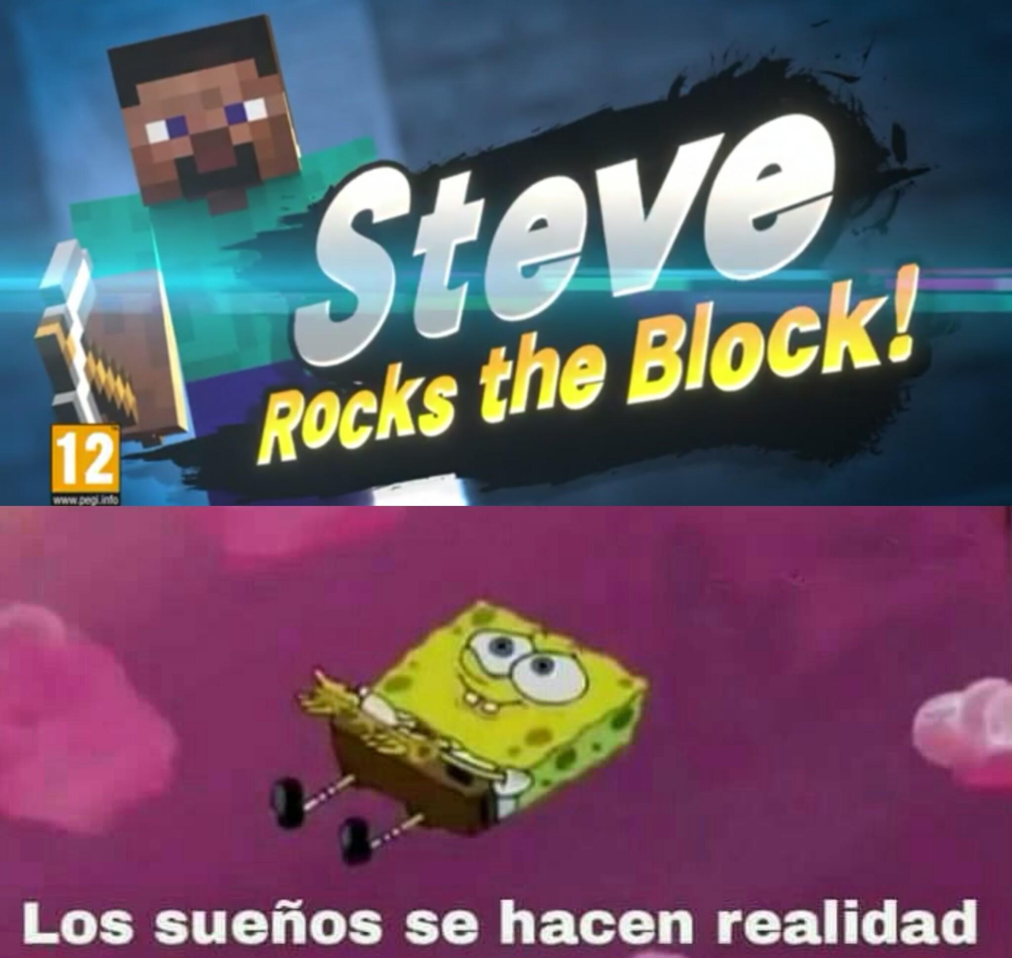 Con Steve en Smash todo es posible - meme