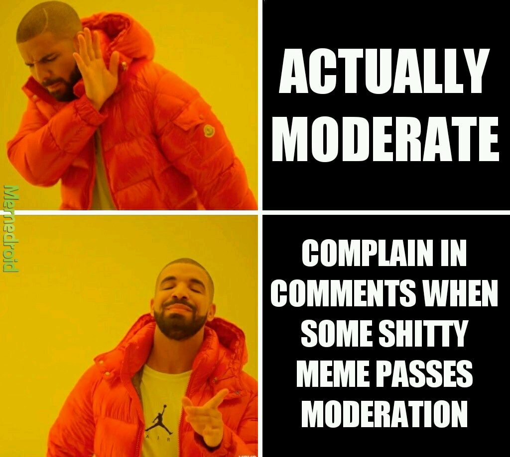 Shit happens when you let 12 year olds do all the moderation - meme