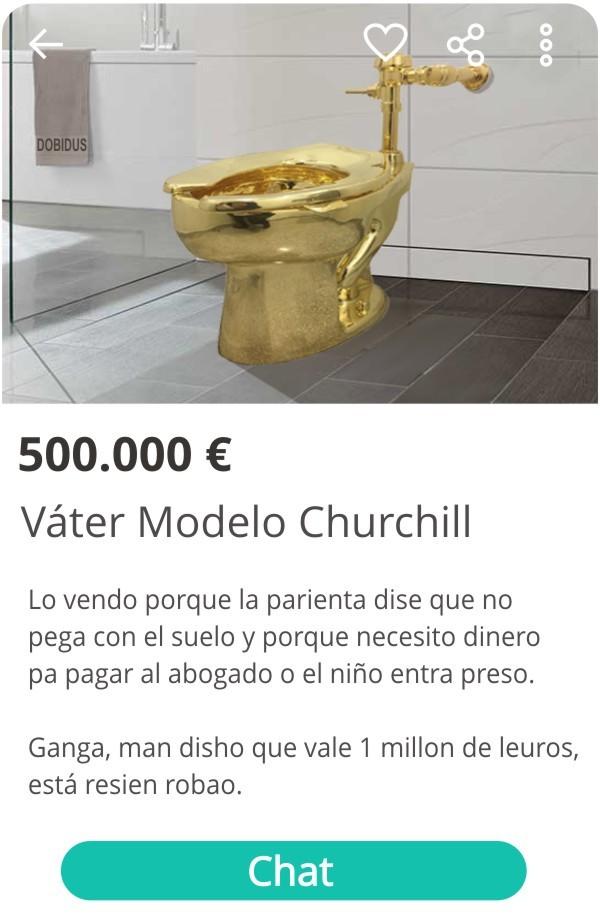 Inodoro modelo churchill de oro - meme