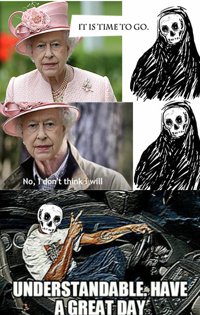 Time to go, queen Elizabeth II - meme