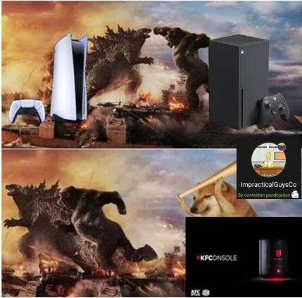 Osea, es una consola donde se puede jugar juegos de PC, tiene 1 TB de almacenamiento y tiene un compartimento para pollo frito, a quien no le gustaría :whynot: - meme