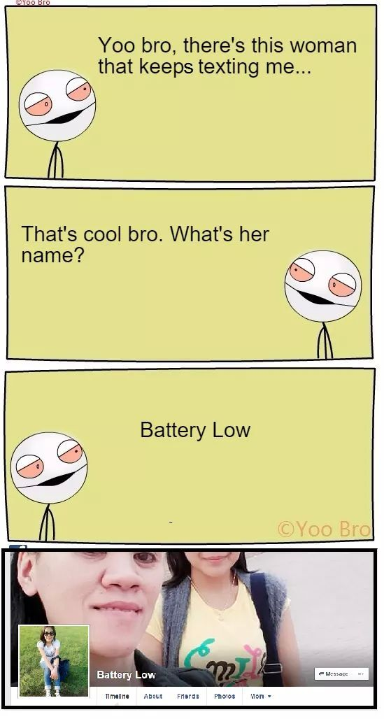 Battery Low is texting me ! - meme